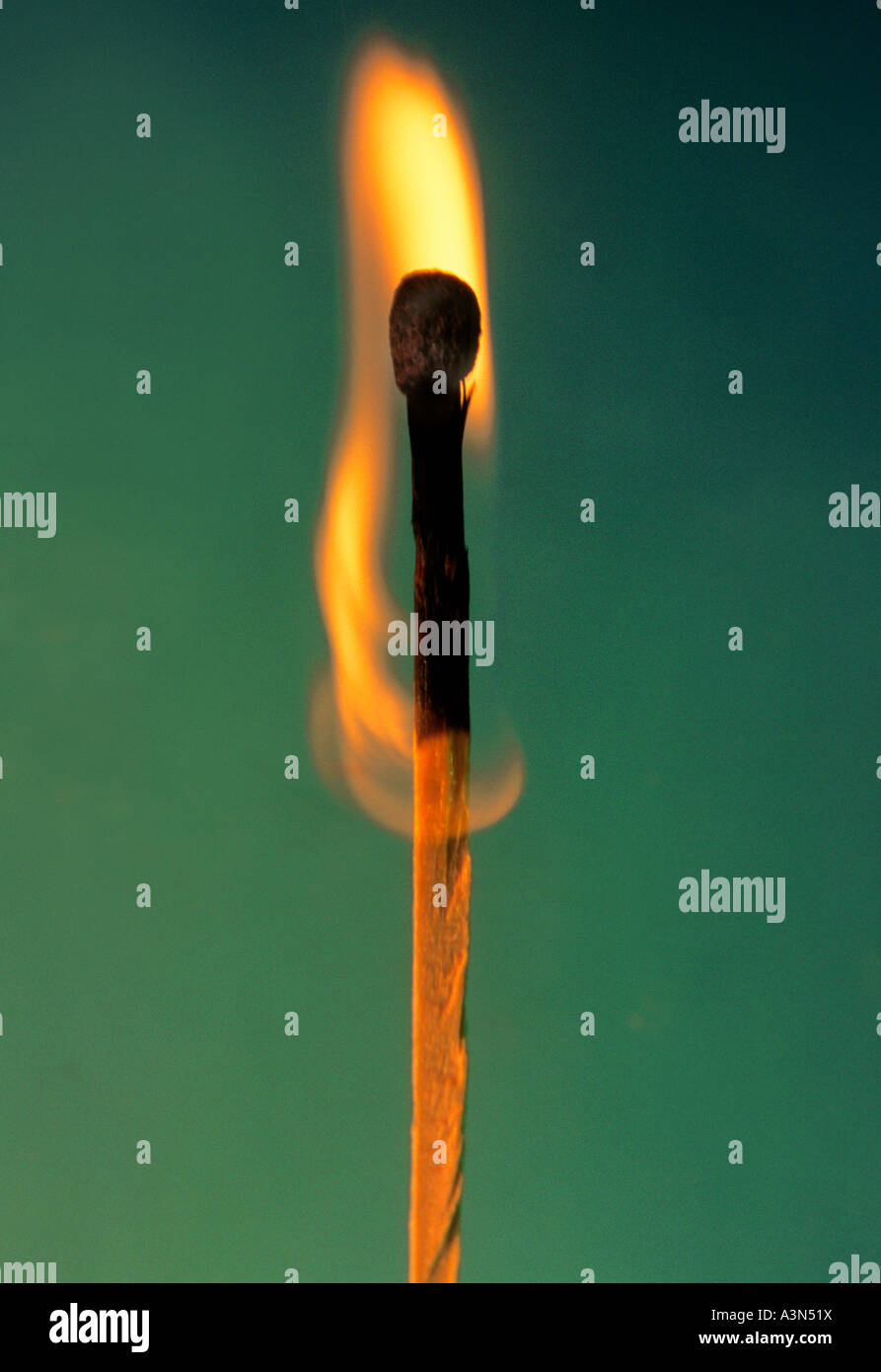 Burning Matchstick Flame - Stock Image