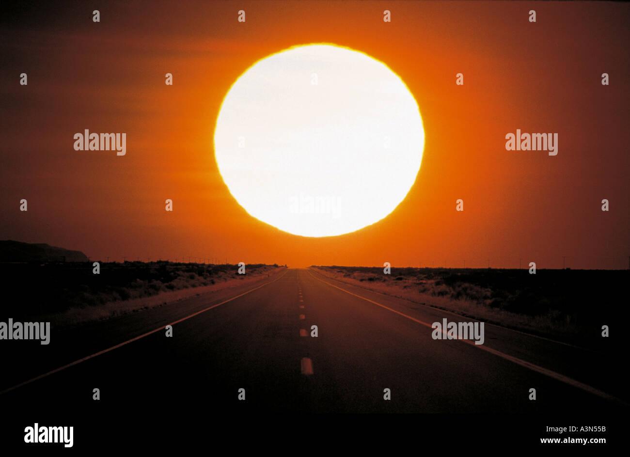 Road Nature Sky Sun Fields - Stock Image