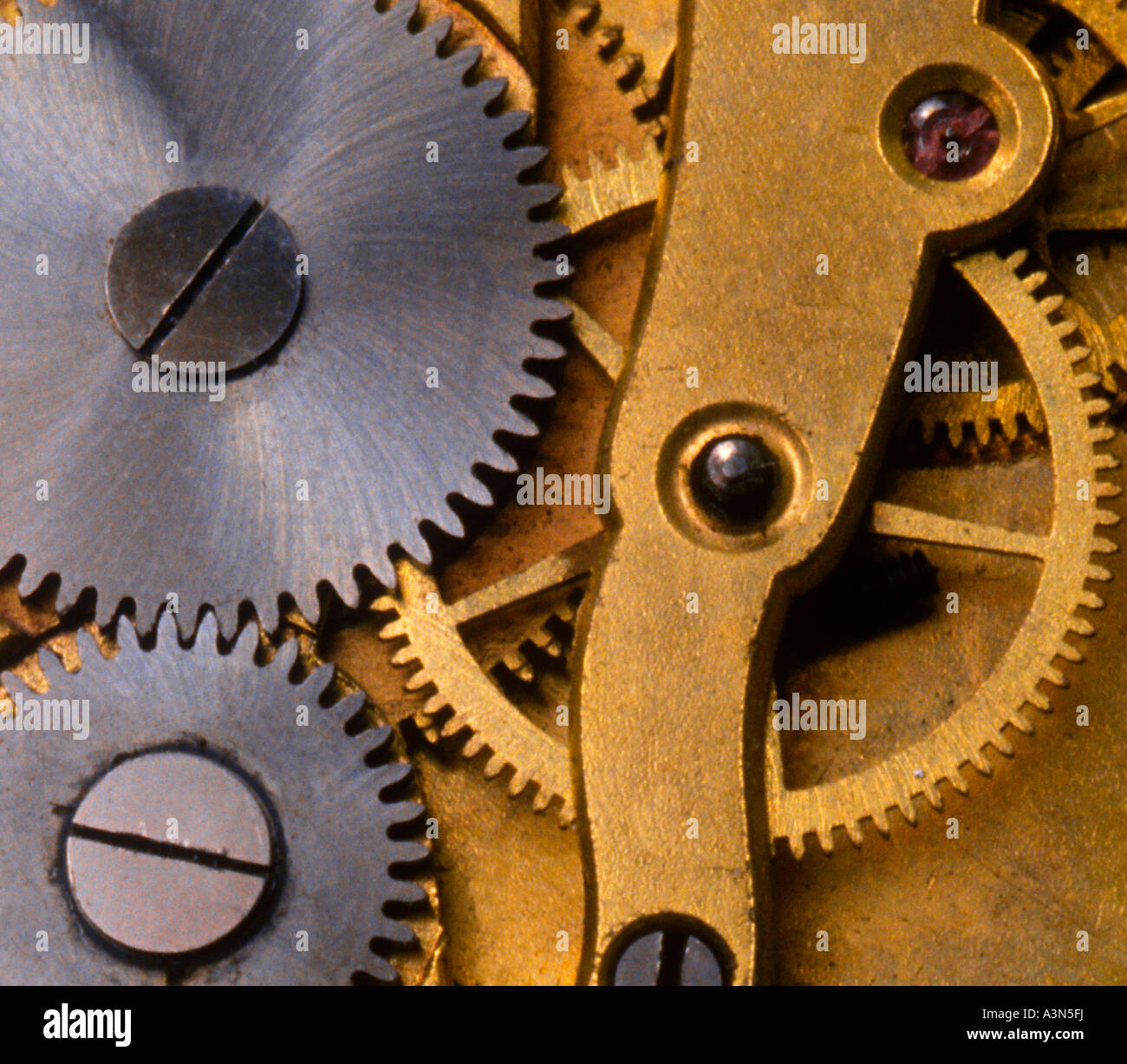 Clock Interior Gears Detail Close-up Working Mechanical Parts Sandra Baker Stock Photo