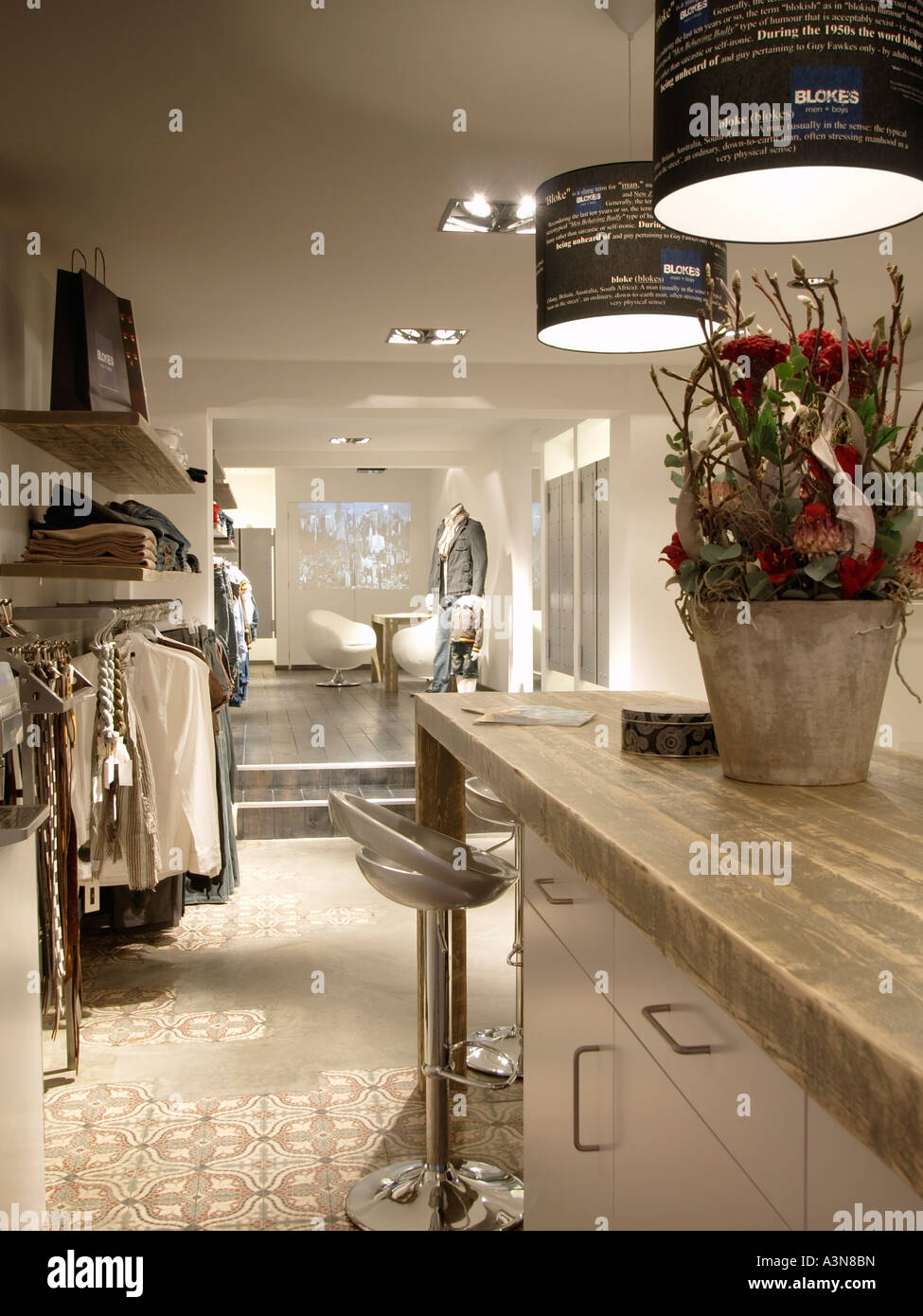Modern mens casual clothing store retail Roosendaal Noord Brabant the Netherlands hip design - Stock Image