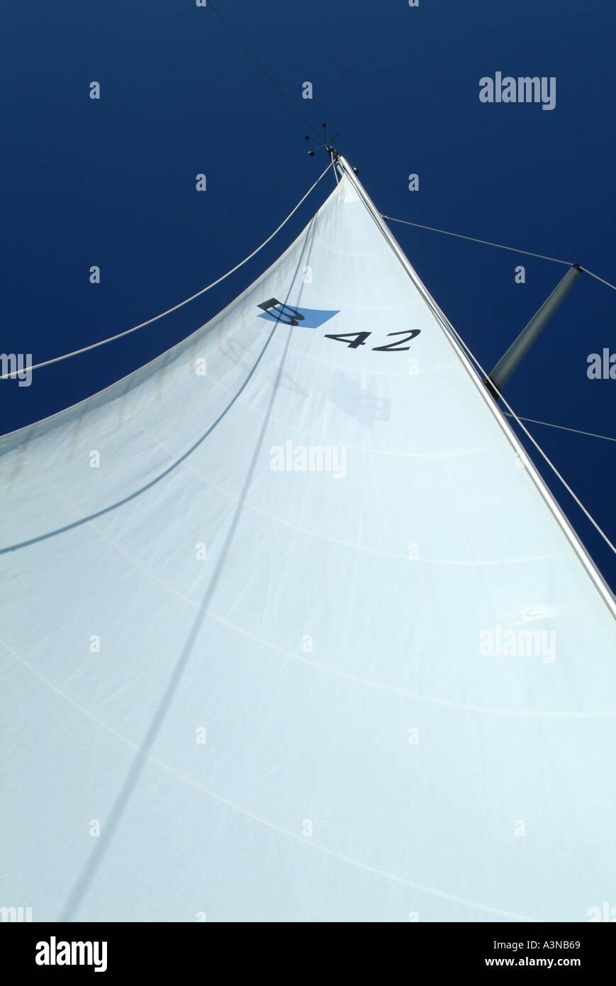 Mainsail of Bavarian 42 Yacht at Sea in Croatia - Stock Image