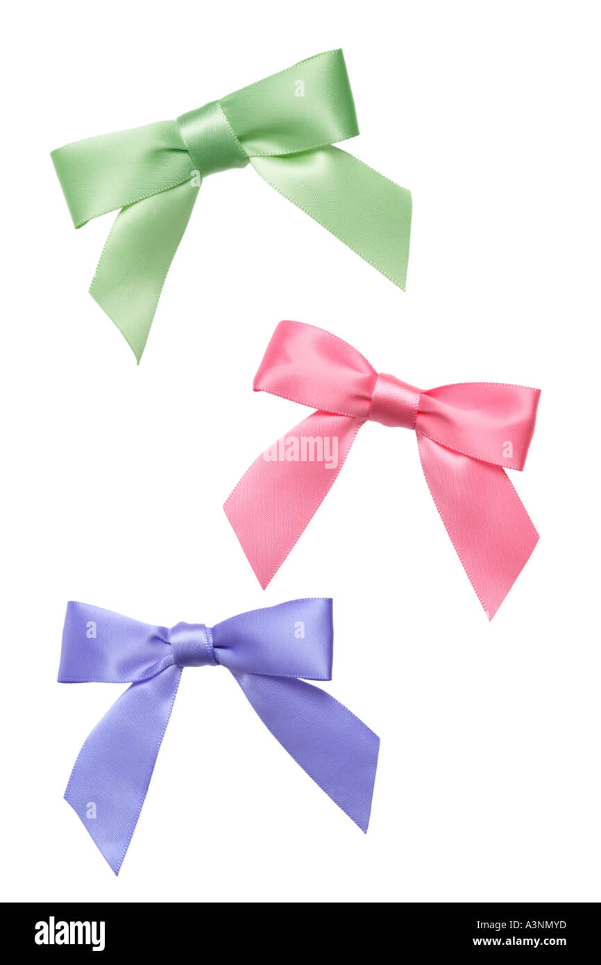 Green Pink and Purple Bows - Stock Image