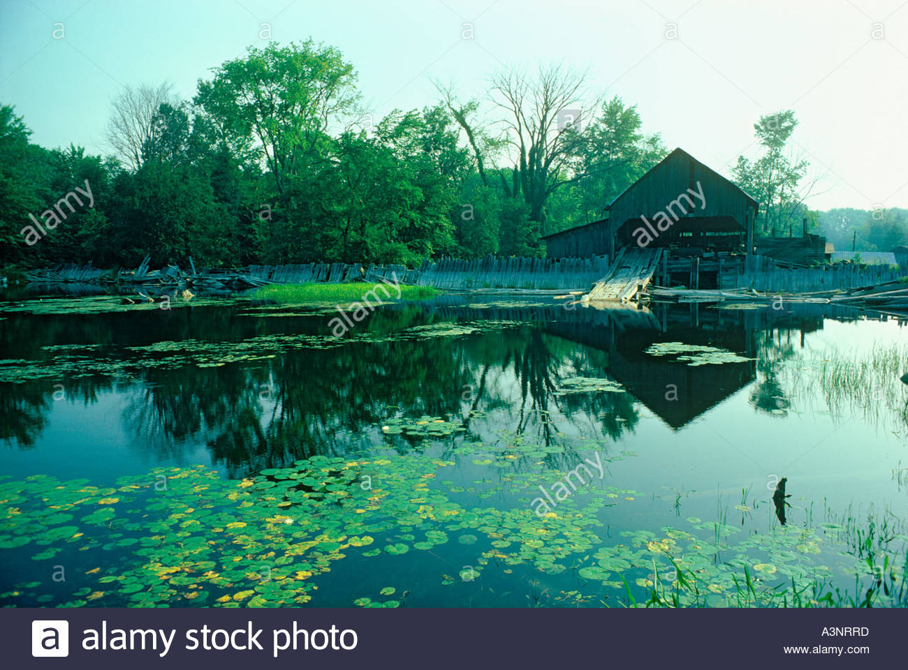 Old sawmill and dam at Dewitt Corners Ontario Canada - Stock Image