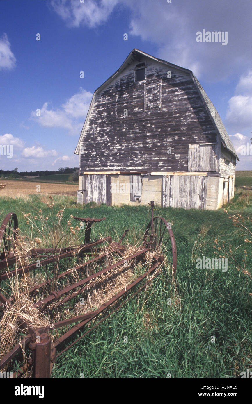 Old Barn And Rusting Farm Machinery, Brown Michigan, USA Stock Photo