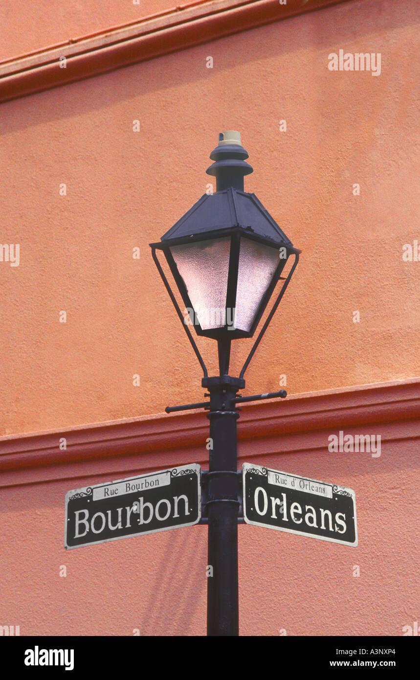 Bourbon Street Sign On Lamp Post New Orleans Louisiana Usa Stock
