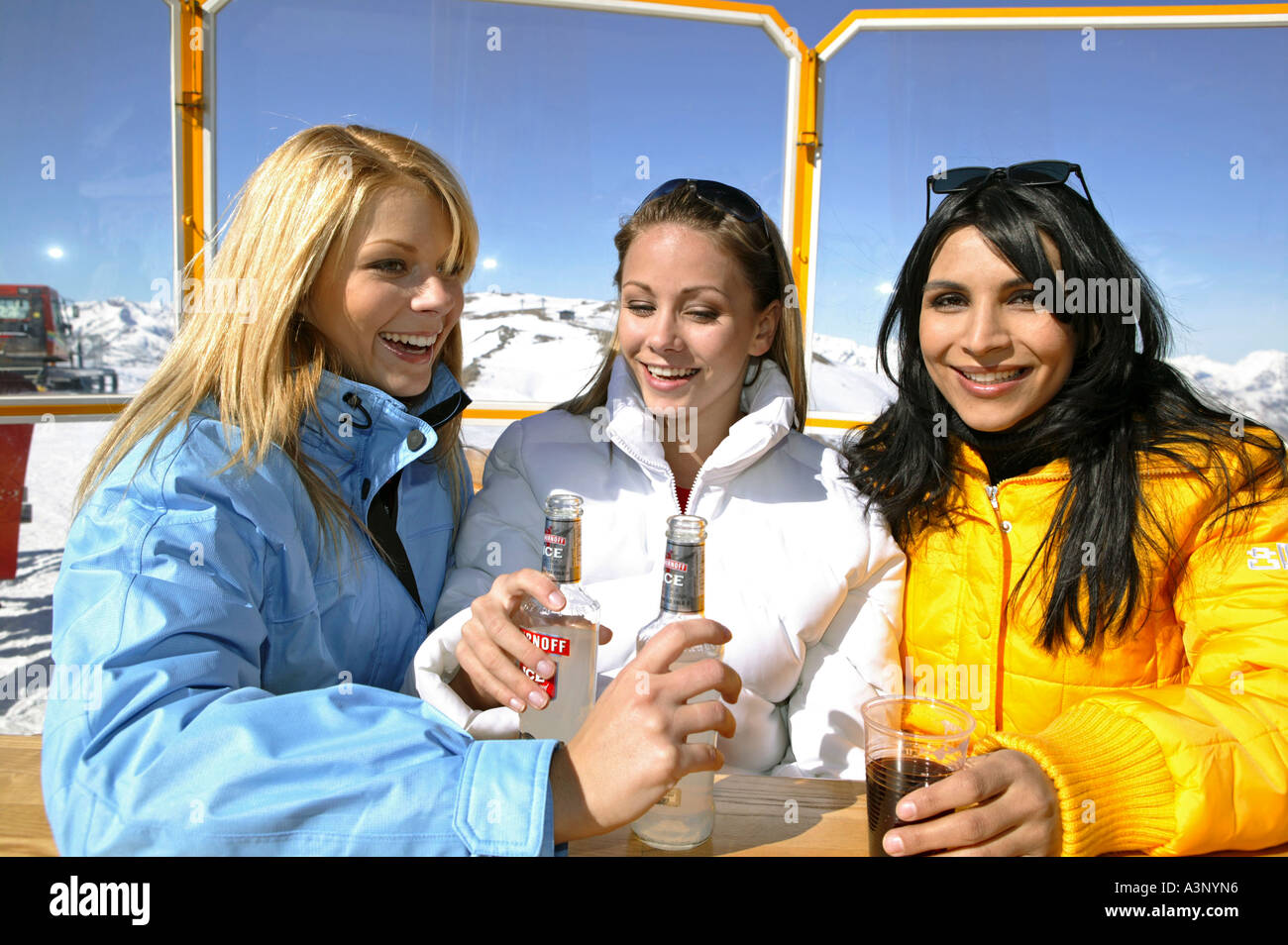 young people at apres ski in winter holiday - Stock Image