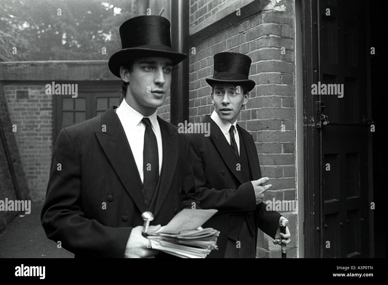 1518e1a30 Harrow School prefects in top hat and tails for the Sunday morning ...