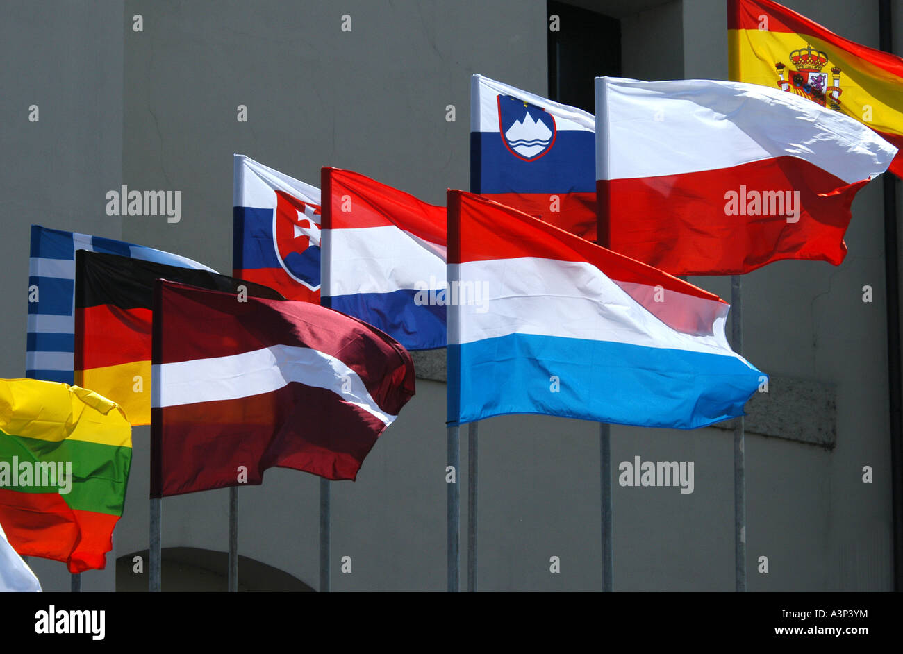 Waving flags of European states in Prague, Czech Republic - Stock Image