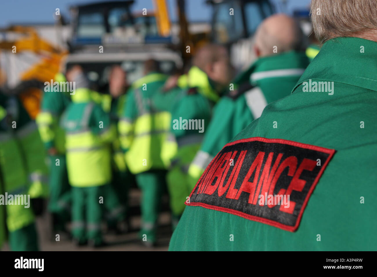 British ambulance paramedic staff - Stock Image