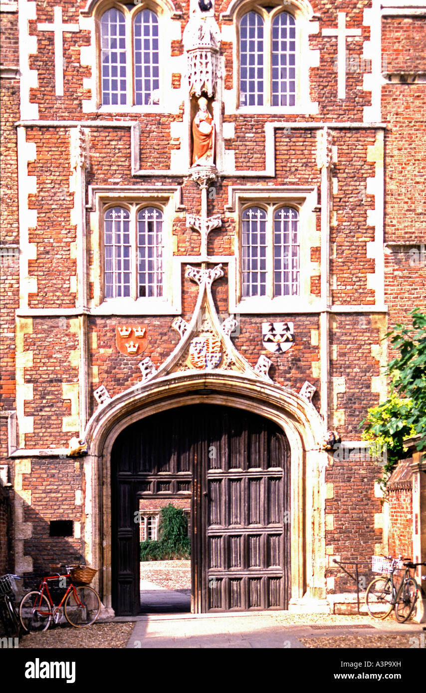 Main gate Jesus College Cambridge Cambridgeshire England - Stock Image