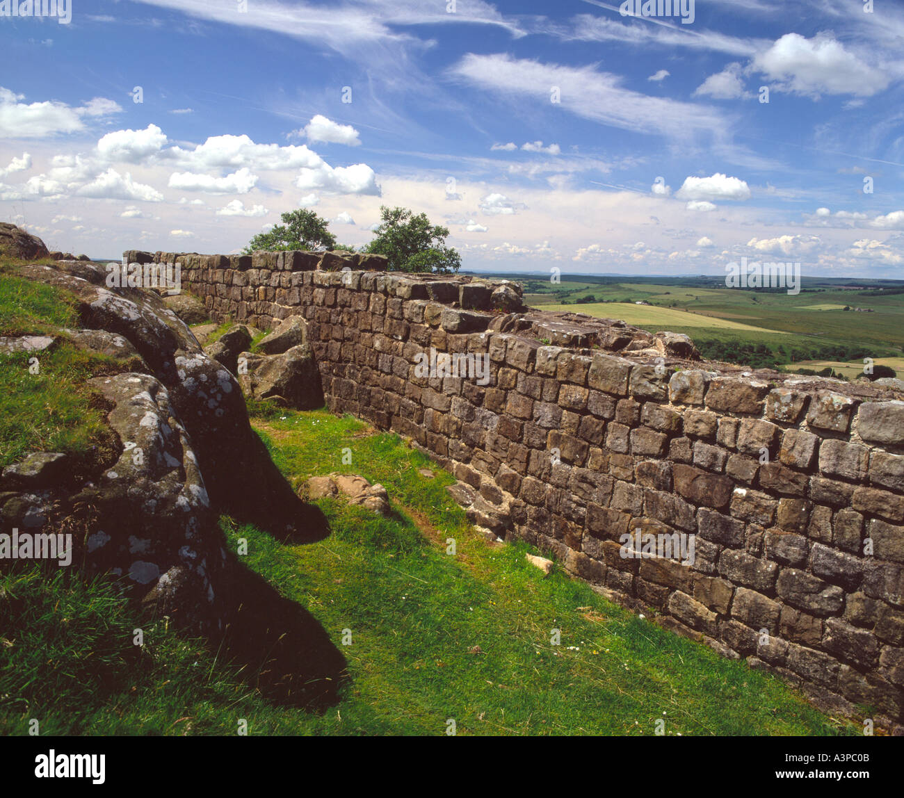 Roman Wall at Walltown, Looking West, near Greenhead, Northumberland - Stock Image