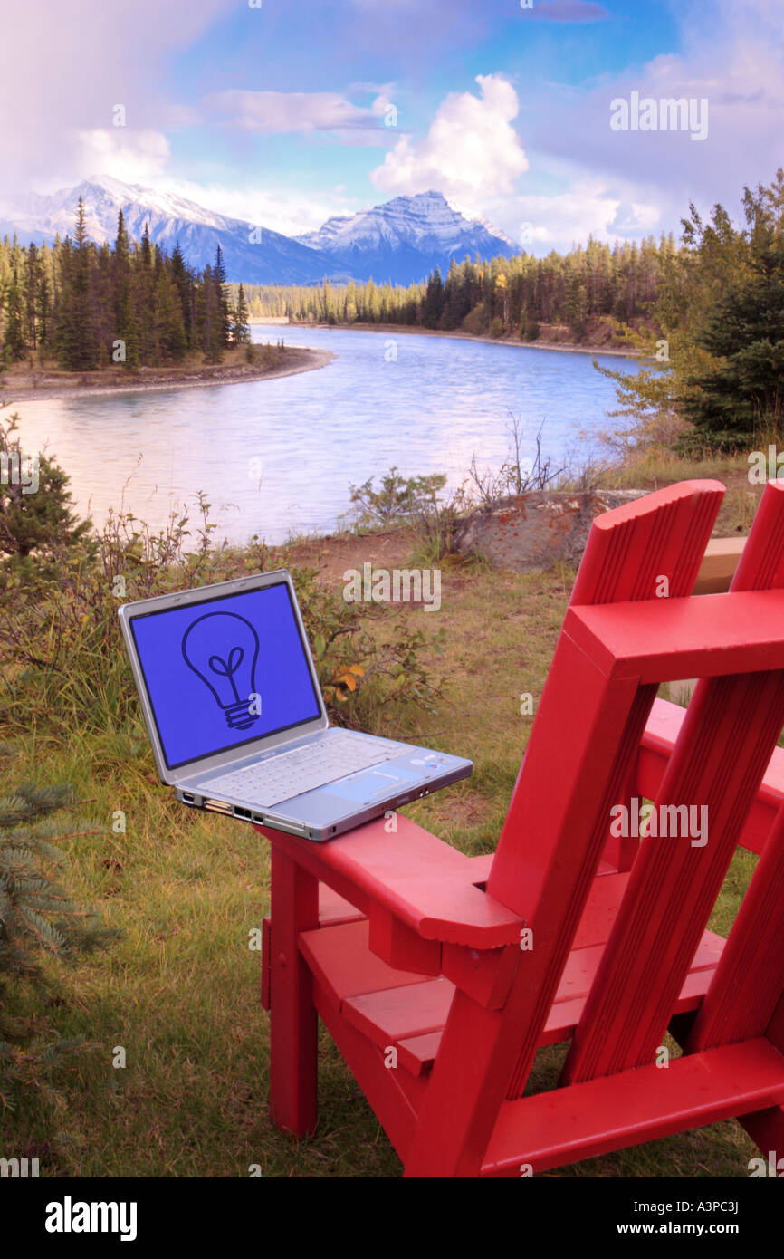 laptop computer on deck chair in jasper national park alberta canada
