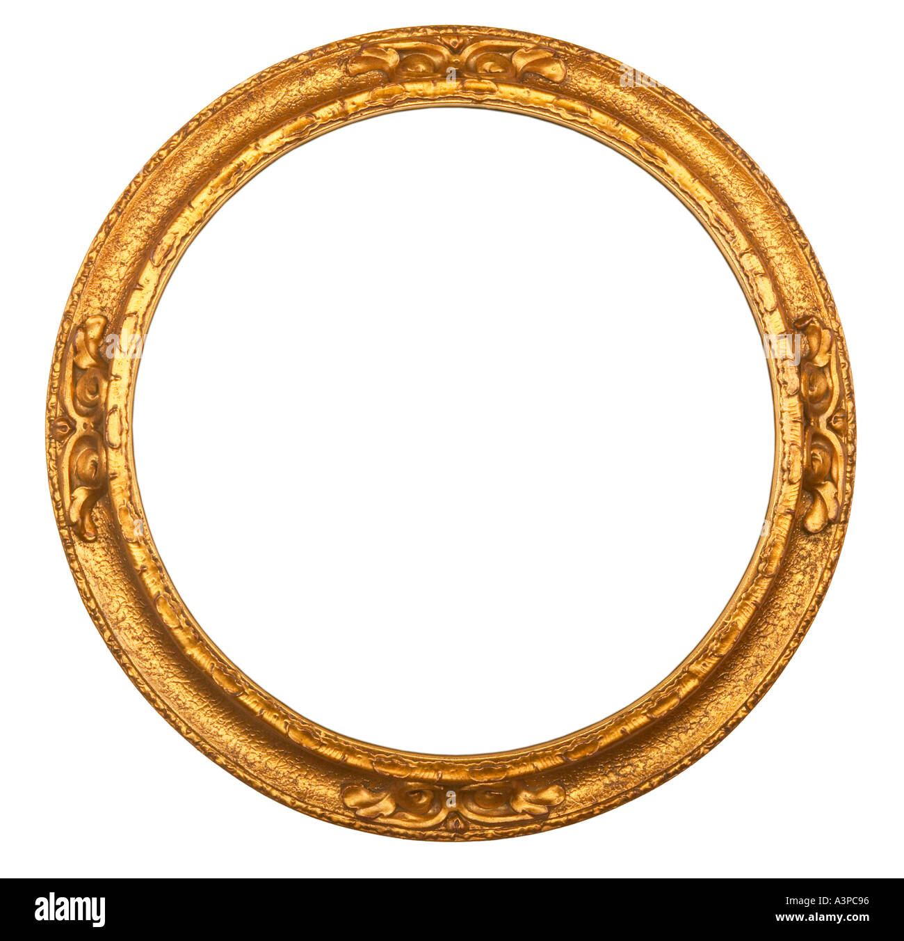 CIRCULAR GOLD GILT ANTIQUE PICTURE FRAME ON WHITE BACKGROUND - Stock Image