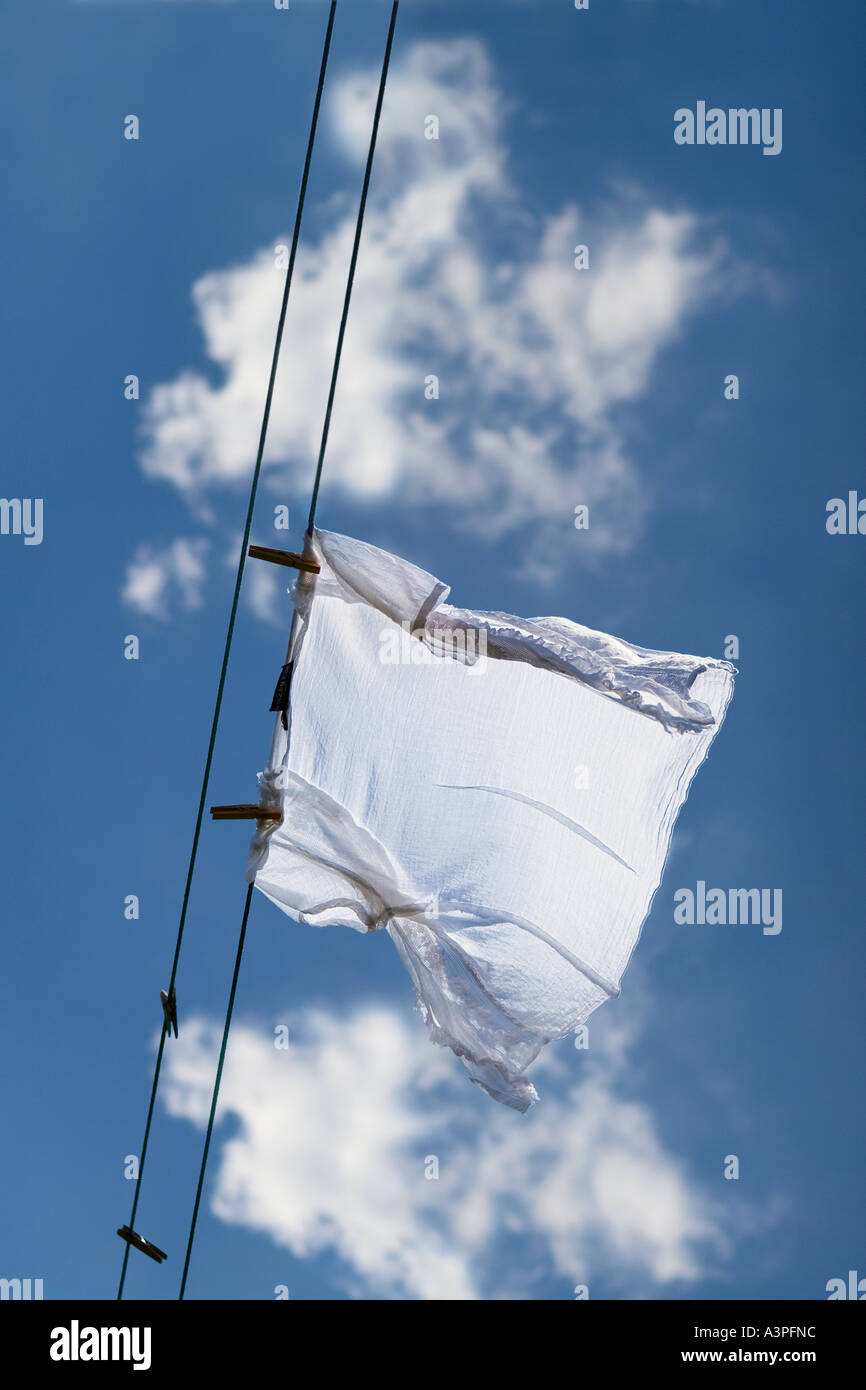 White shirt drying on clothesline (low angle view). Brooklyn, New York City, New York, USA - Stock Image
