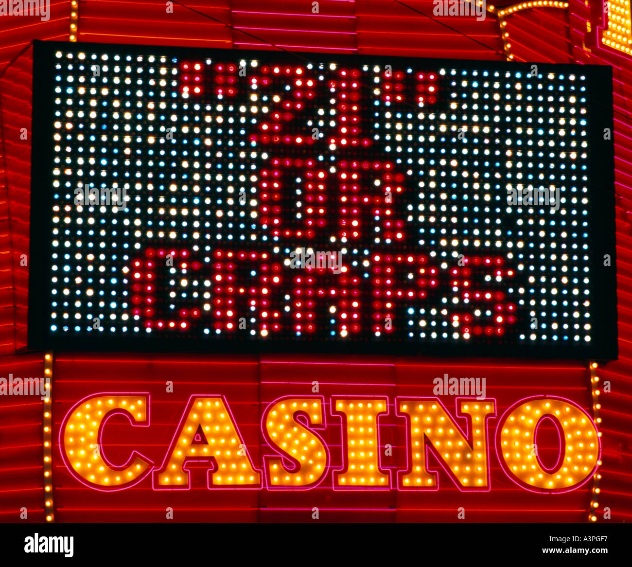 Craps Neon Sign, Las Vegas Nevada USA - Stock Image