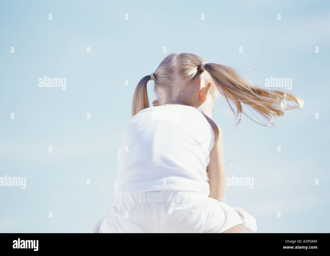 Little girl with pigtails, rear view - Stock Image