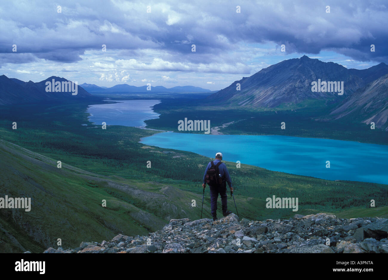Hiker at Low Pass in Chigmit mountains above Twin Lakes Lake Clark National Park Alaska - Stock Image