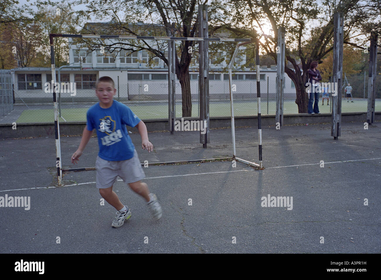 Young amateur goalkeeper, Poznan, Poland. - Stock Image