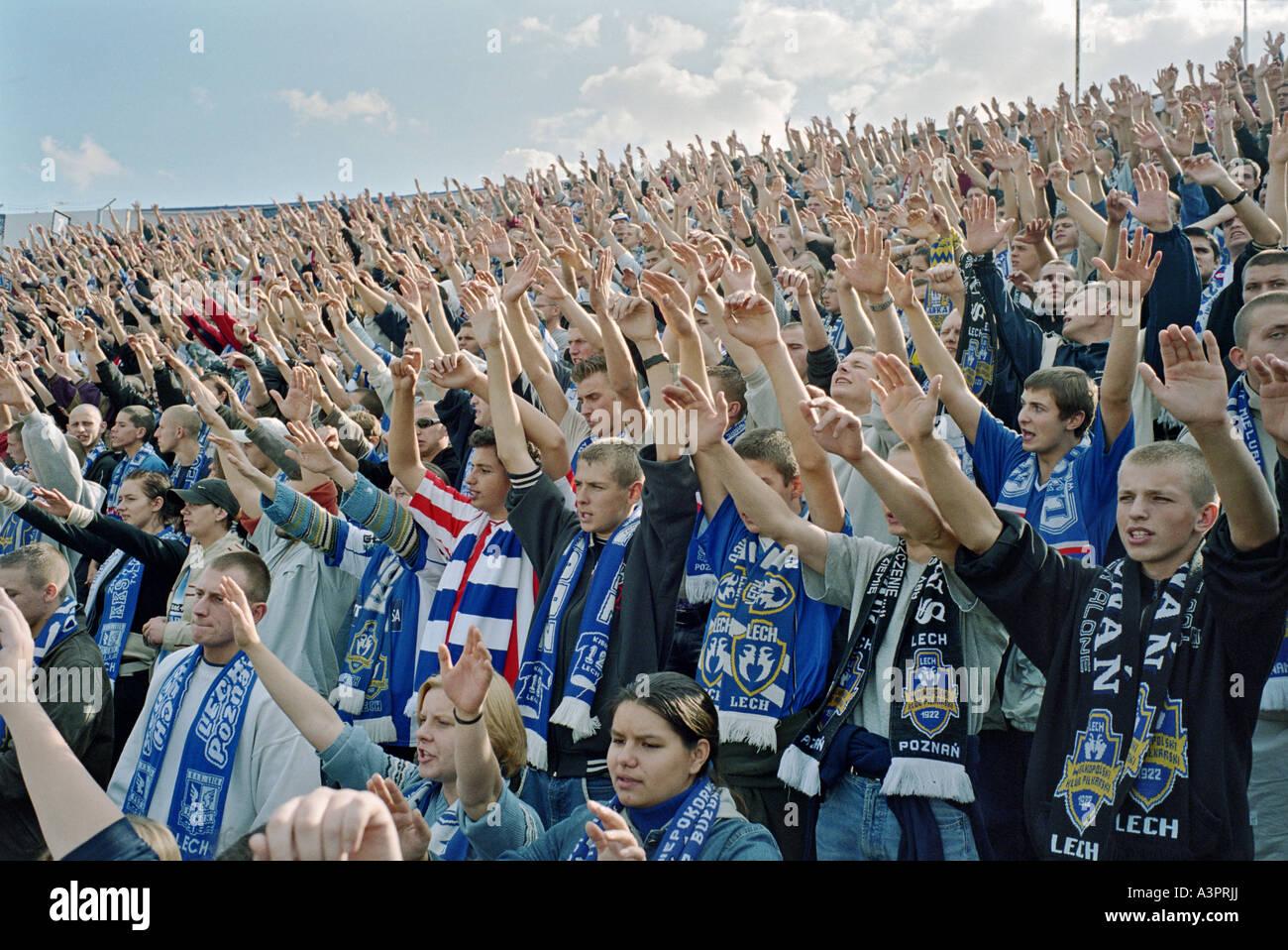 Lech Poznan News: Fans Of The Lech Poznan Football Club At A Stadium, Poznan