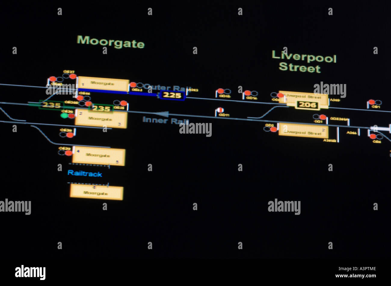 London Underground s Trackernet a real time graphical representation of the tube network Numbered trains can be Stock Photo