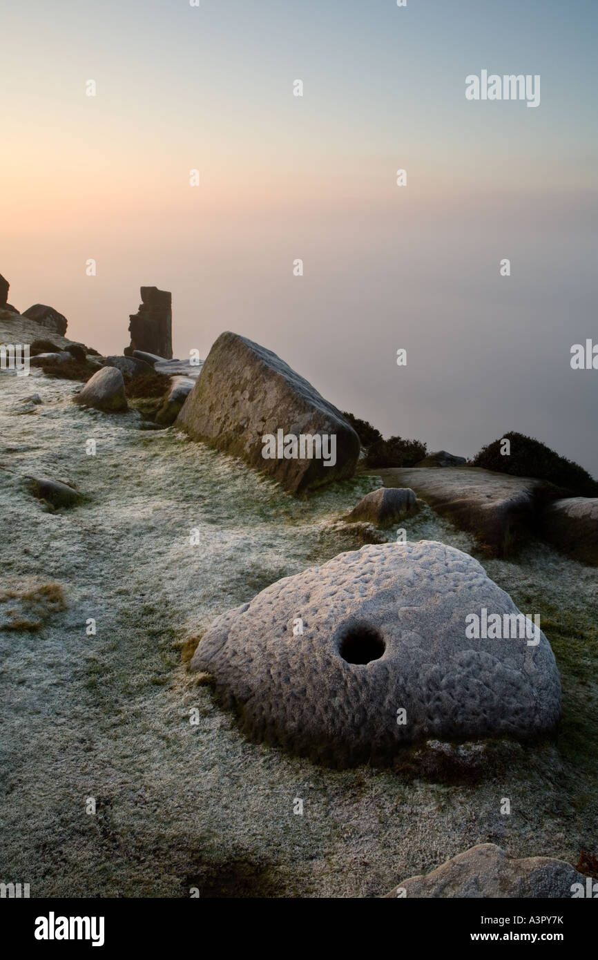 Mist & frost Curbar Edge, Peak District National Park, Derbyshire, UK, Europe Stock Photo