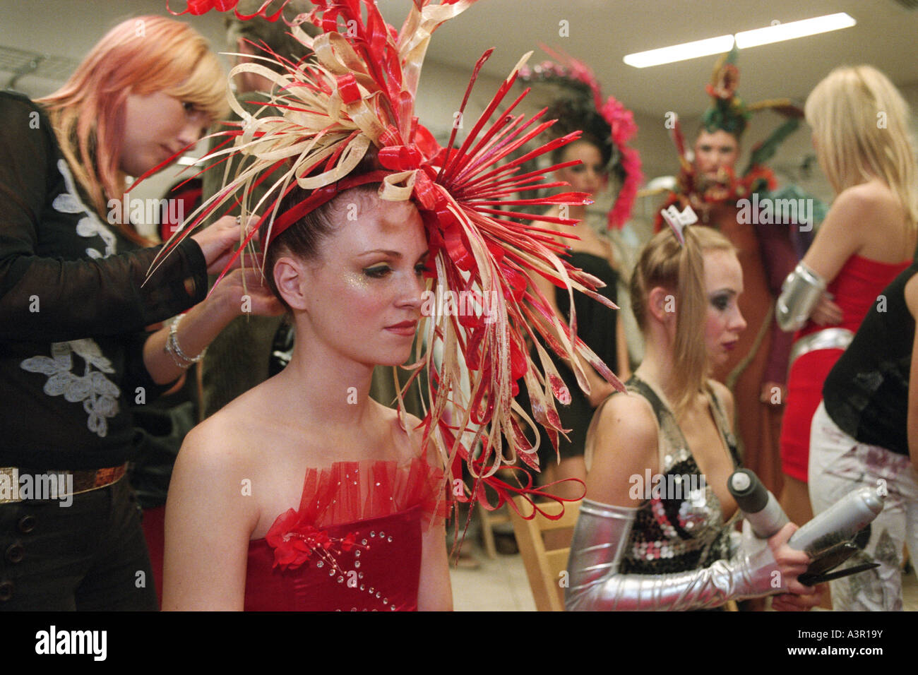 Young models in the backstage at the XIII International Hair Fair 2005 in Poznan, Poland - Stock Image
