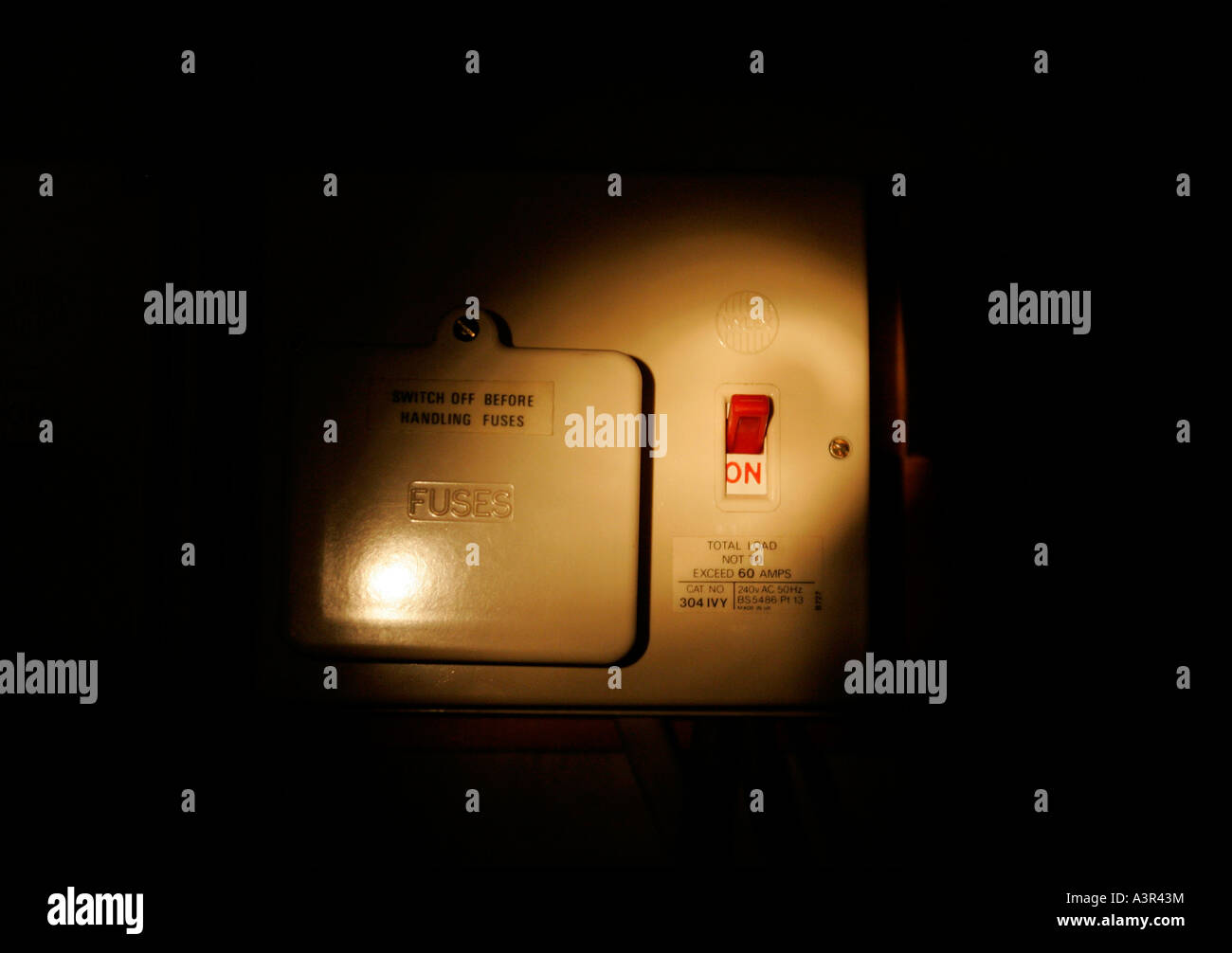 Domestic Fuse Box Stock Photos Images Alamy Old 60 Amp Electricity Fusebox In Torchlight Image