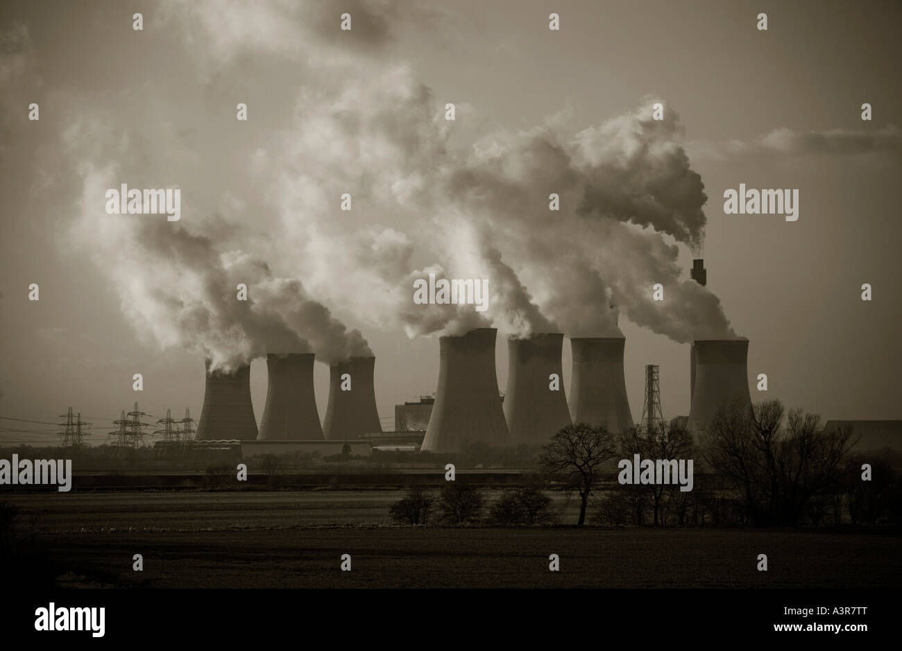 black and white photograph of coal fired power station - Stock Image