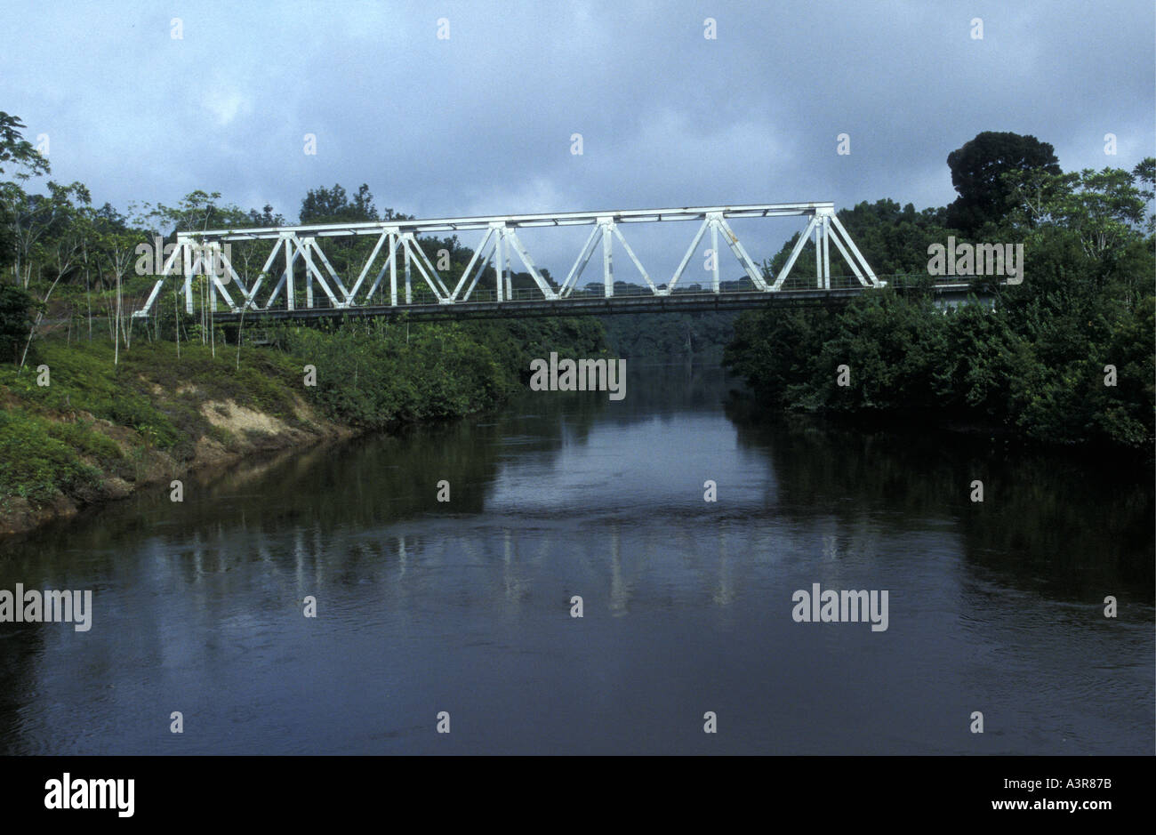 Railway bridge on the transgabonese railway Gabon West Africa - Stock Image
