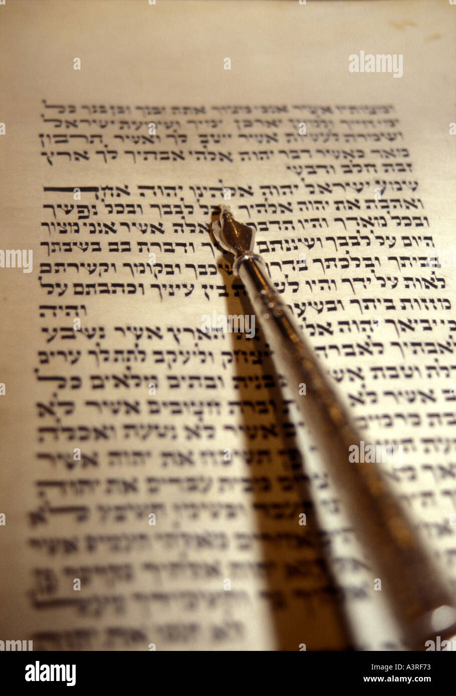 JUDAISM Hebrew script with yad or pointer - Stock Image