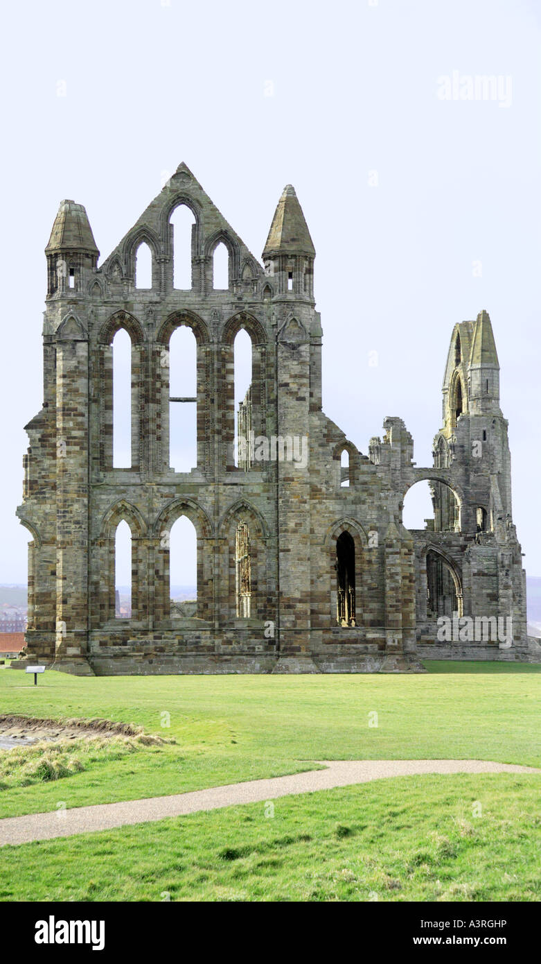 Historical Whitby Abbey ruins North Yorkshire - Stock Image