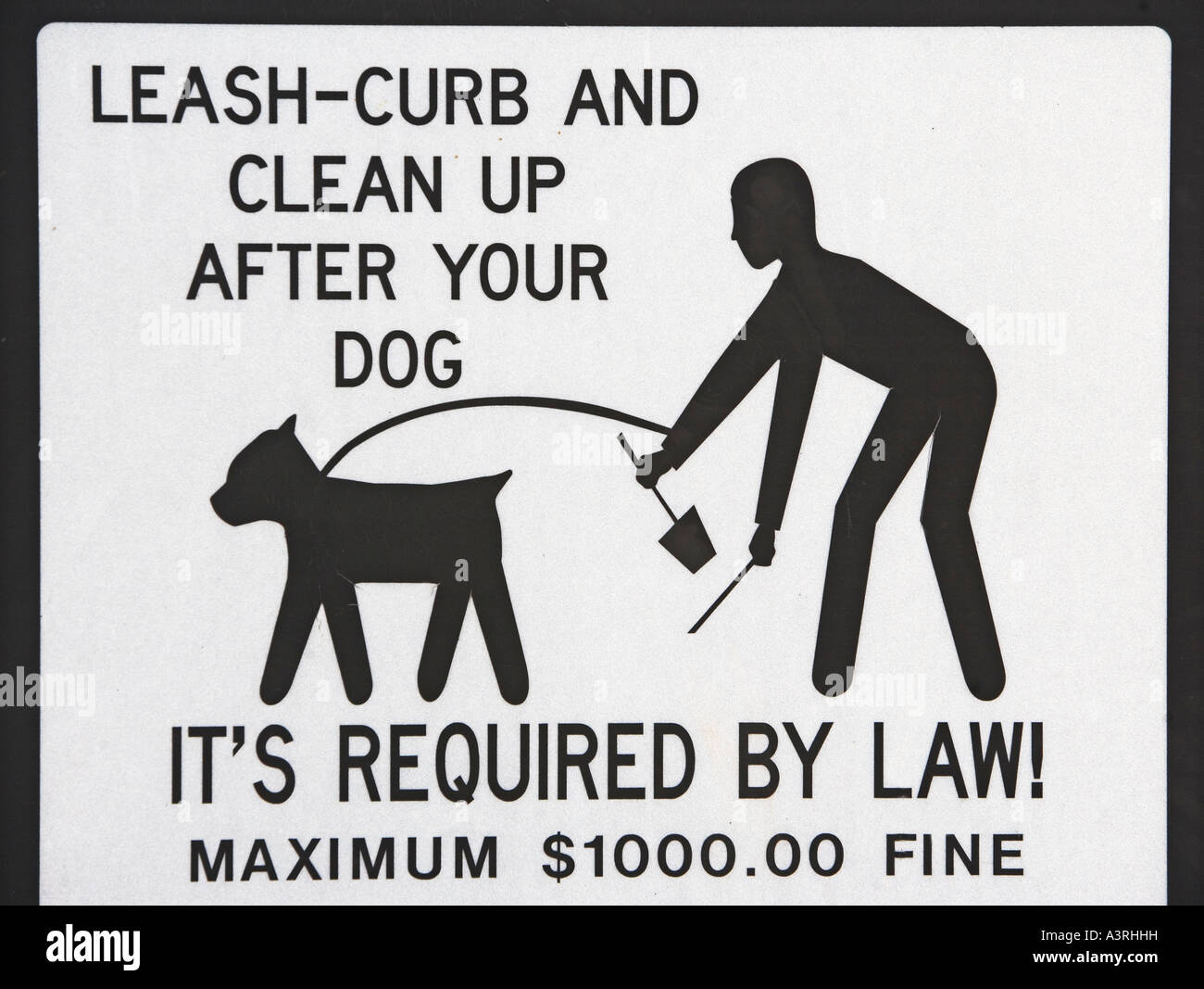 DOGS, CLEANUP, LAW, REQUIRED BY LAW, REQUIRED, MAXIMUM, FINE, MONEY, ICON, PERSON, DOG, SIGN, DIRECTION - Stock Image