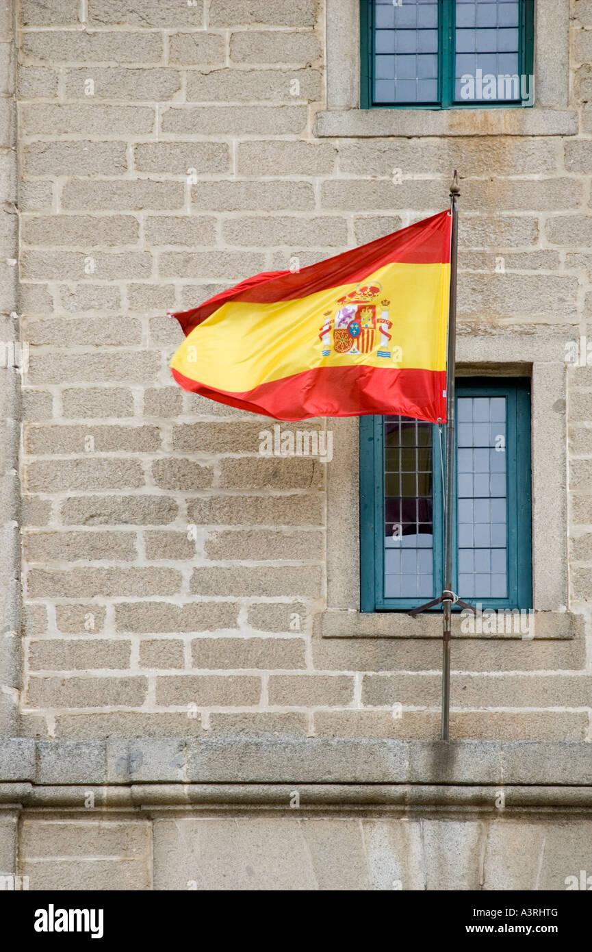 Spanish flag, El Escorial, Spain Stock Photo