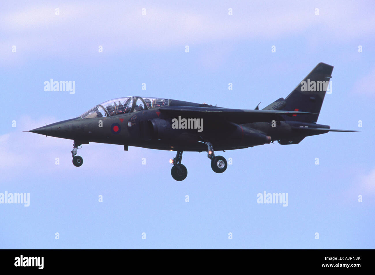 Alpha Jet operated by QinetiQ Boscombe Down landing at Fairford RIAT - Stock Image