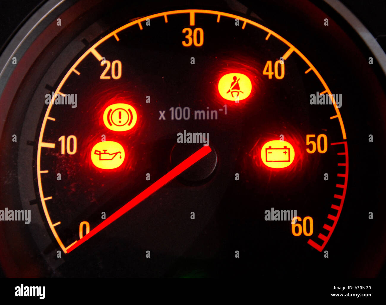 Car Warning Lights In Illuminated Dashboard Dial Re