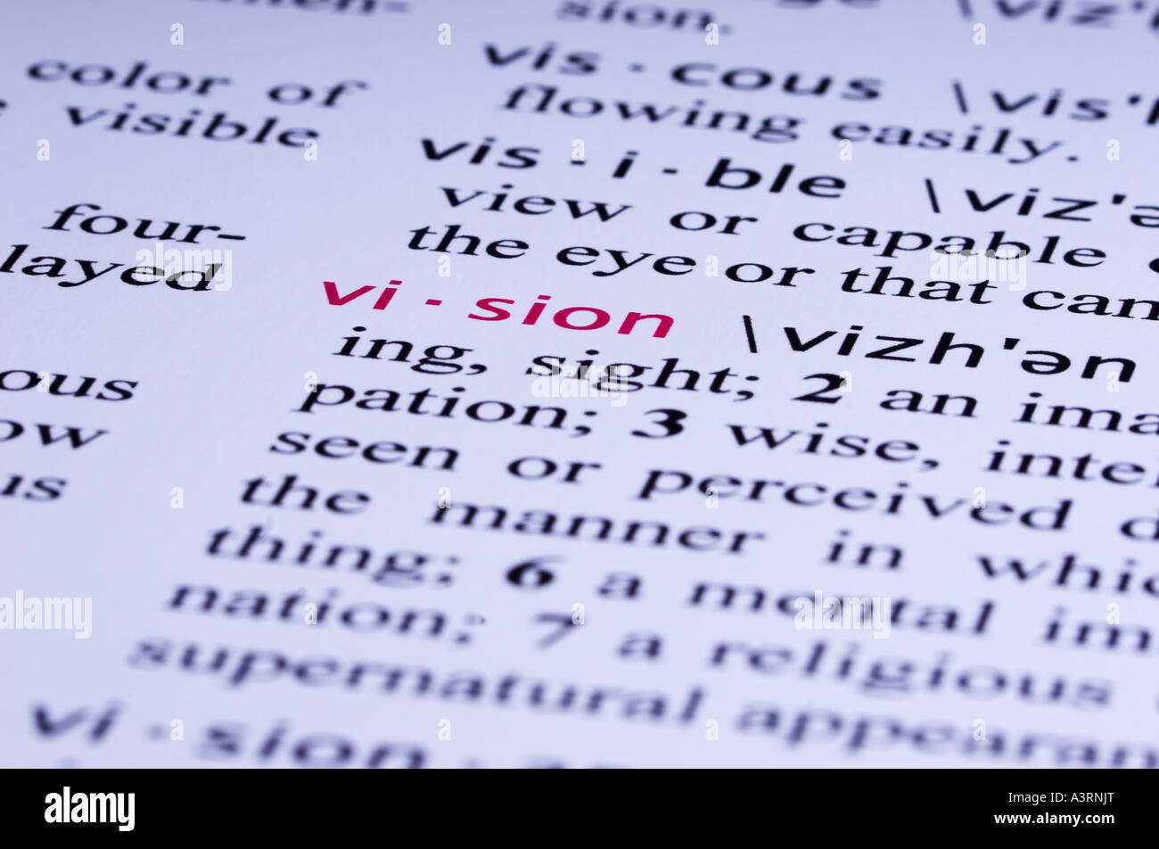 The Definition For Word VISION Is Highlighted In A Fictitious Dictionary.    Stock Image