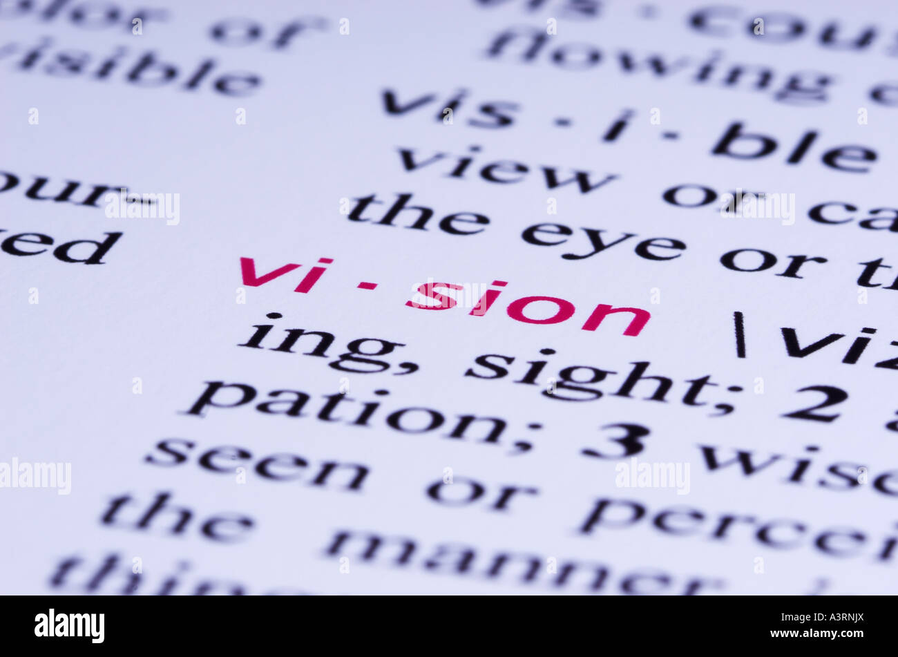 The Definition For Word VISION Is Highlighted In A Dictionary. The  Dictionary Is Fictitious, Made Up By The Photographer
