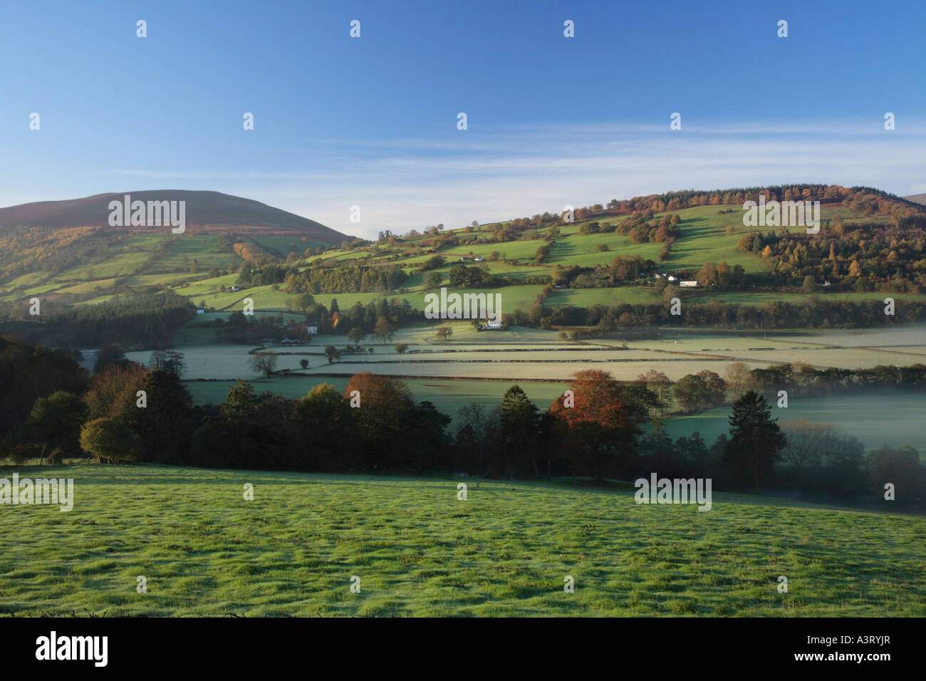The Usk River Valley near Talybont on Usk Brecon Beacons National Park Powys Wales - Stock Image