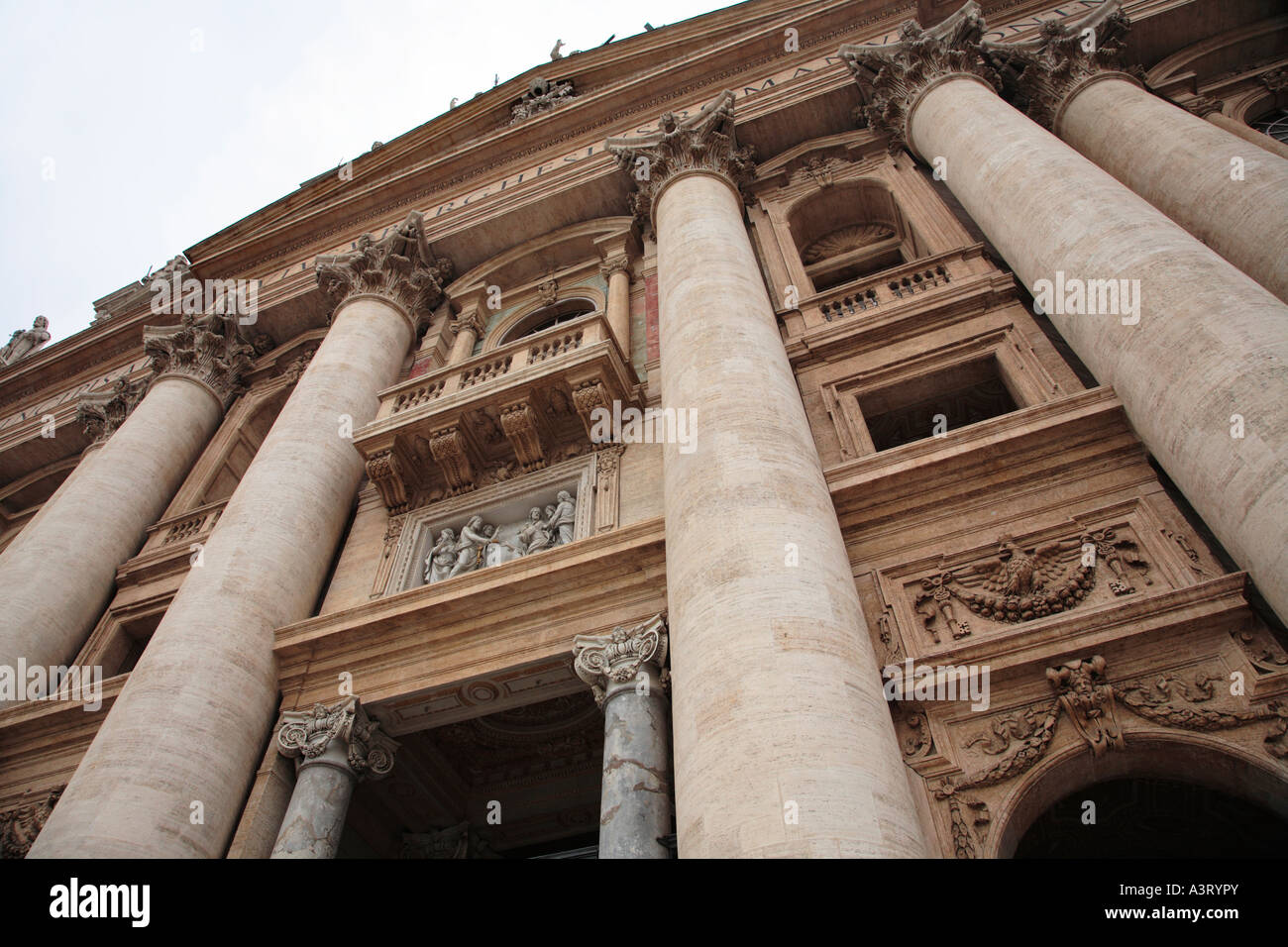 The Grand Facade of Saint Peter s Basilica with the central balcony called Loggia of the Blessings Vatican City - Stock Image