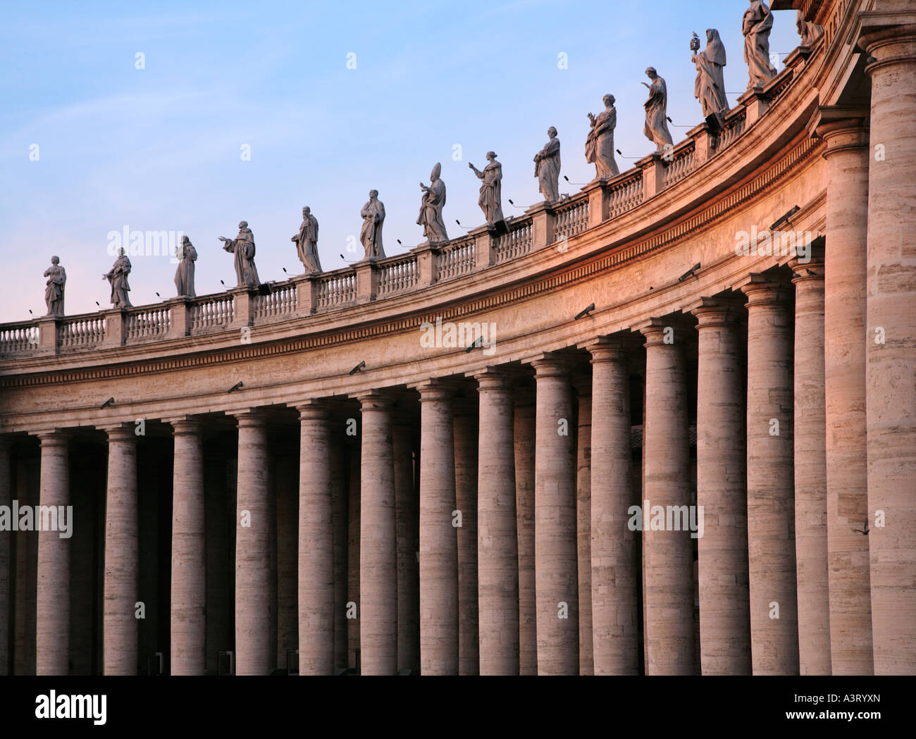 Detail of the Colonnade enclosing Saint Peter s Square designed by Bernini Vatican City Rome Italy - Stock Image