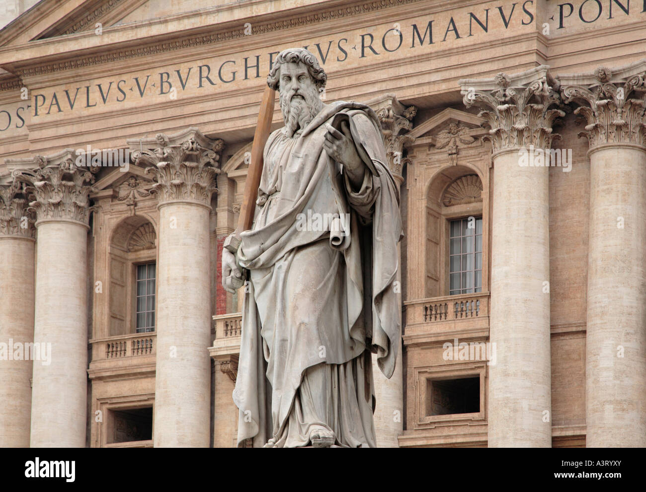 Statue of St Paul in front of Saint Peter's Basilica Vatican City Rome Italy - Stock Image