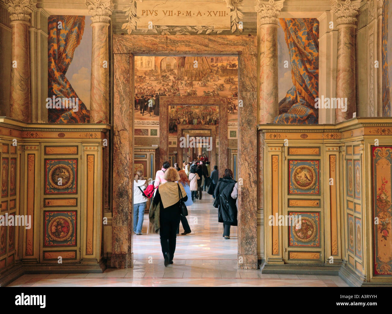 Interior of the Vatican Museum Rome Italy - Stock Image