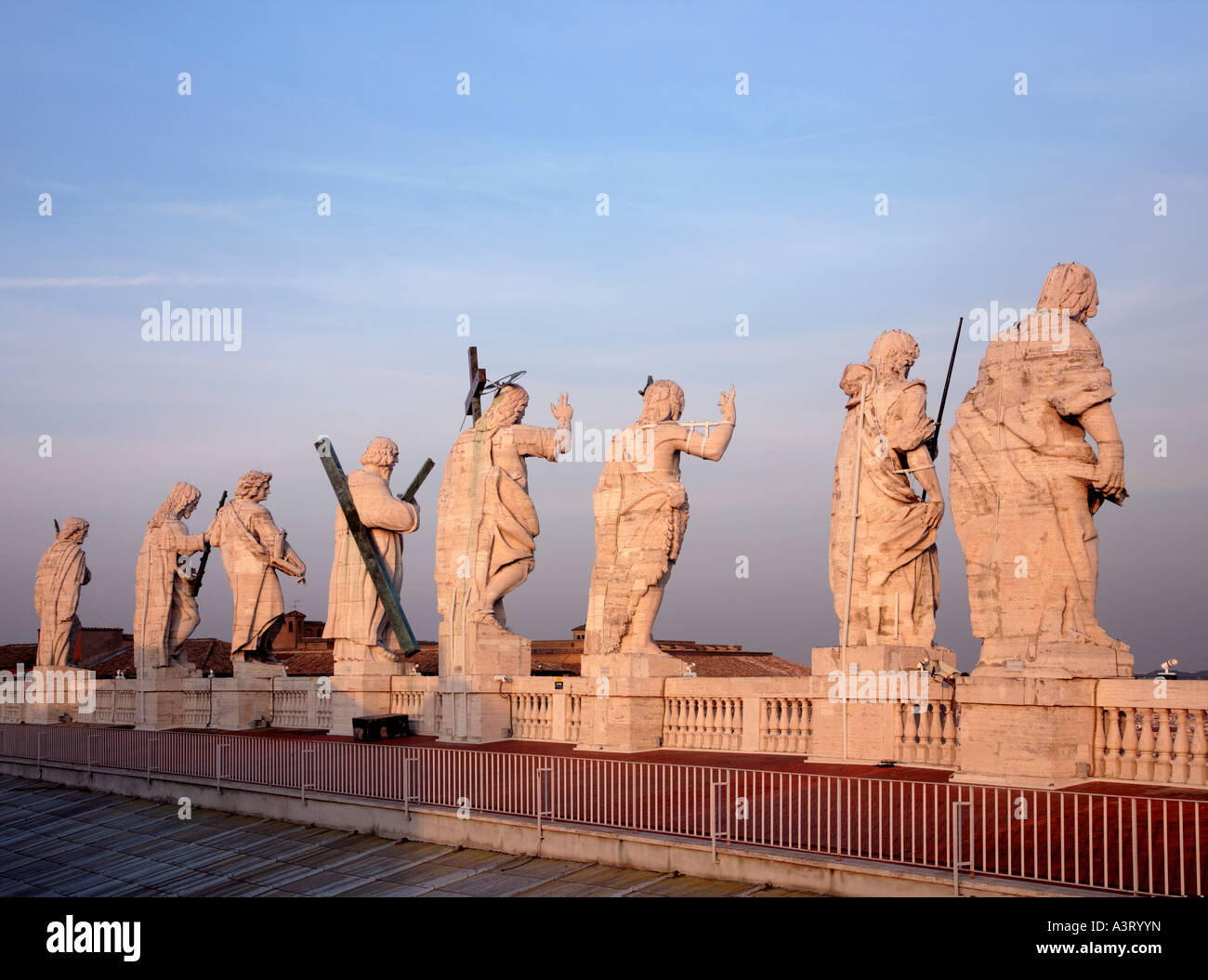 The Statues in Travertine Vatican City Rome Italy - Stock Image