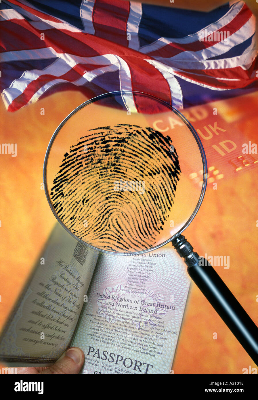 British citizenship and identity concept with UK flag passport ID card and fingerprint under magnifier - Stock Image