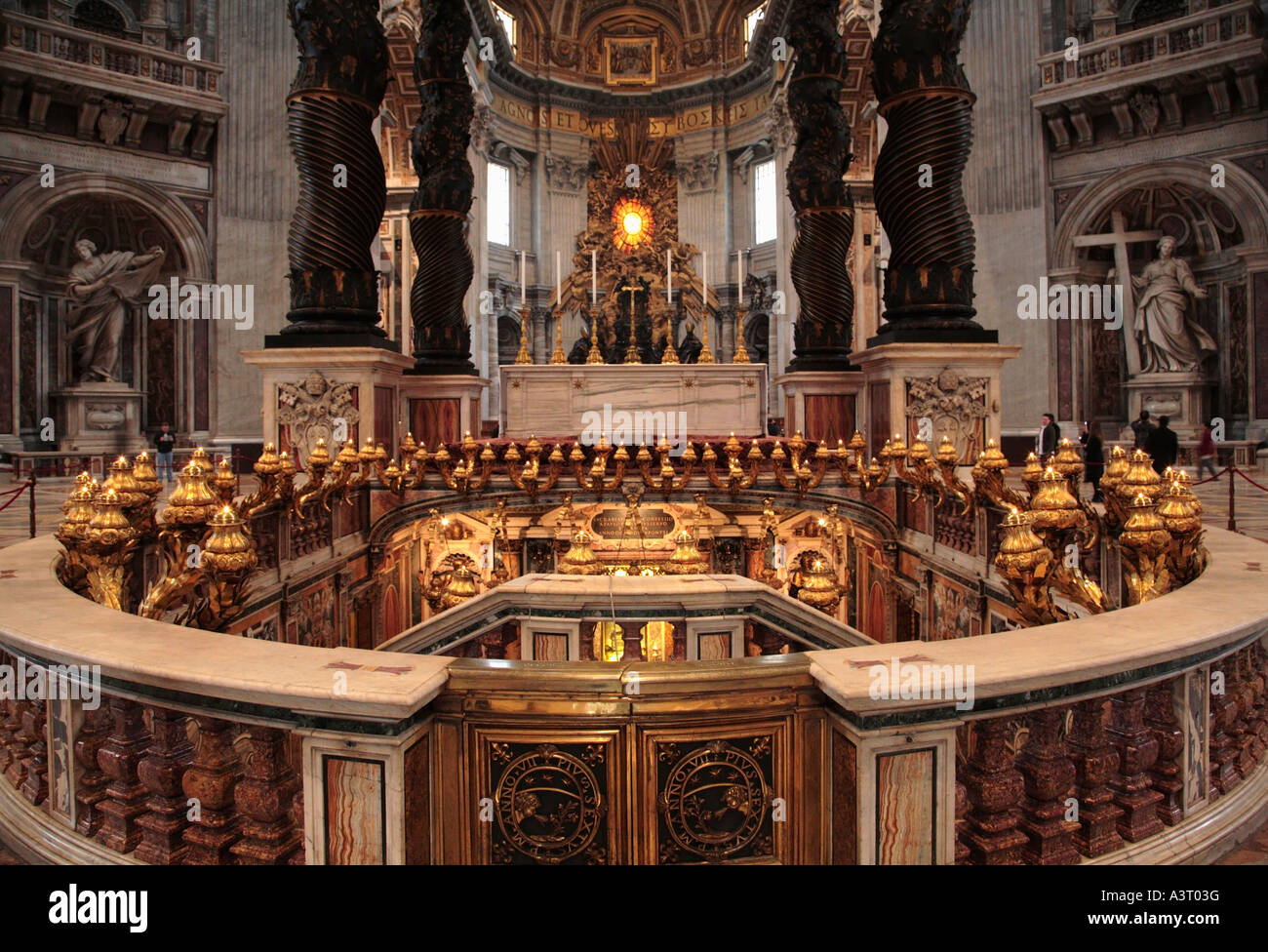 The tomb of St Peter the Apostle in Saint Peter's Basilica Vatican City Rome Italy - Stock Image