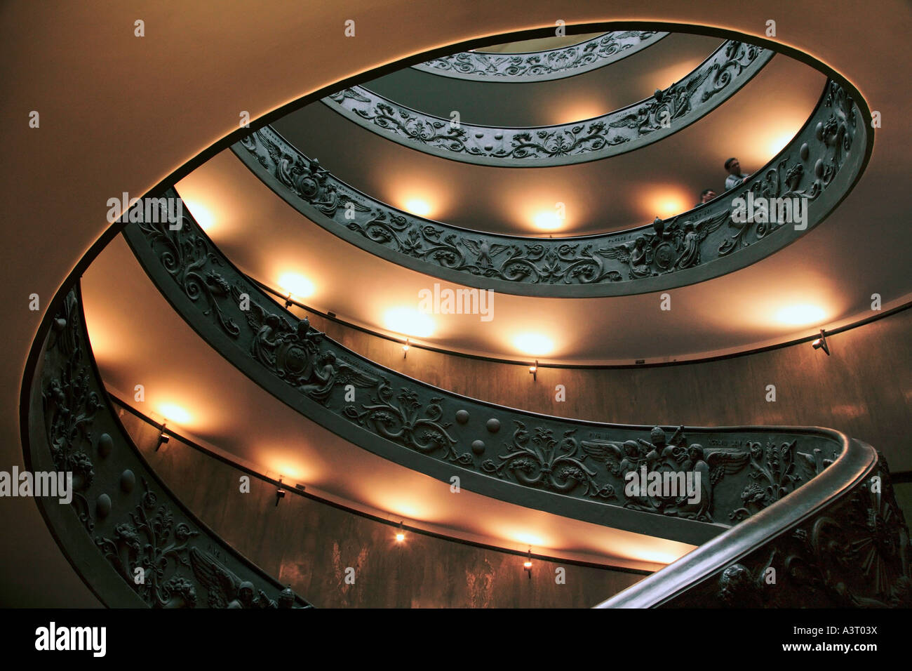Spiral staircase in the Vatican Museum Rome Italy - Stock Image