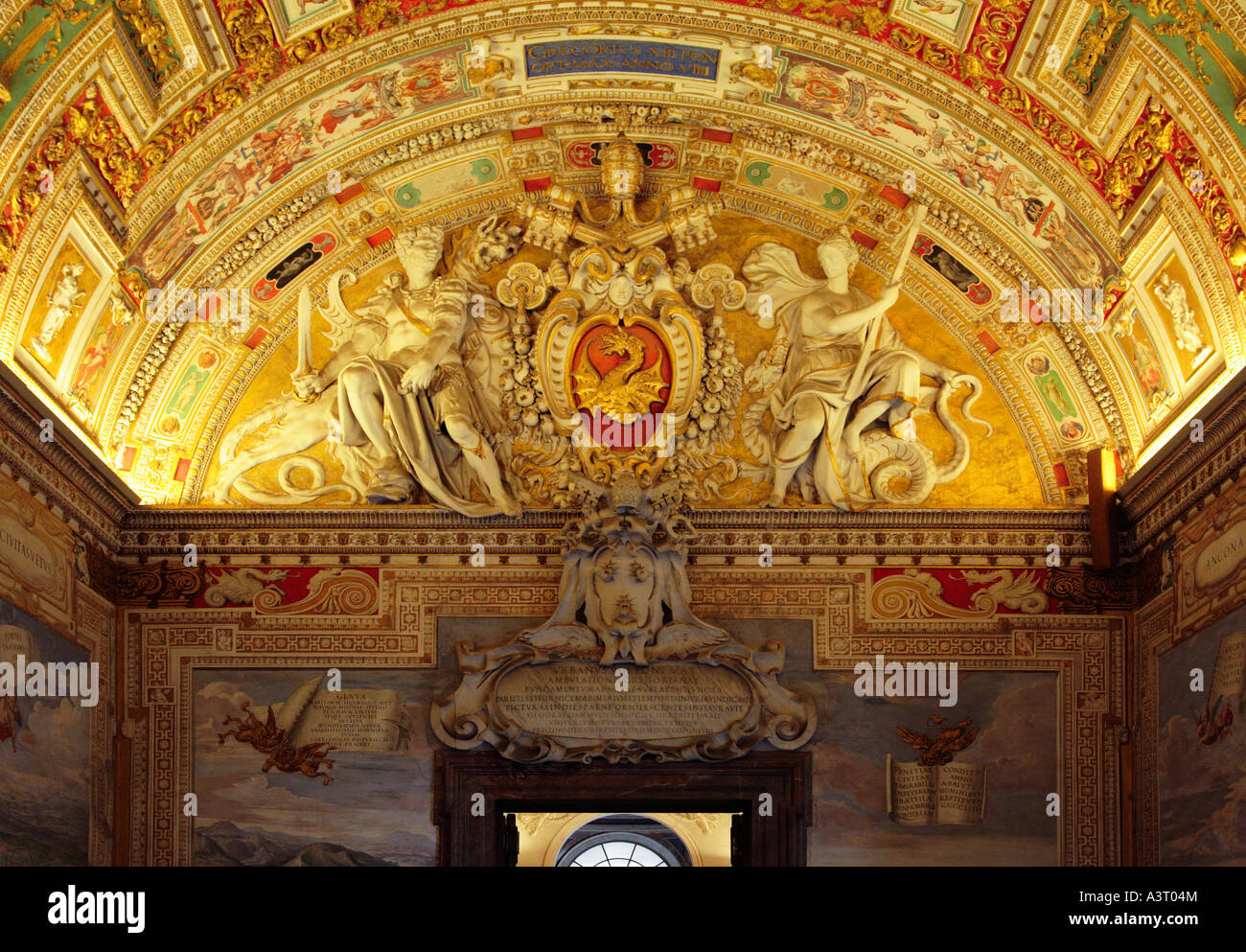 Detail of the Ceiling of the Map Room in the Vatican Museum Rome Italy - Stock Image