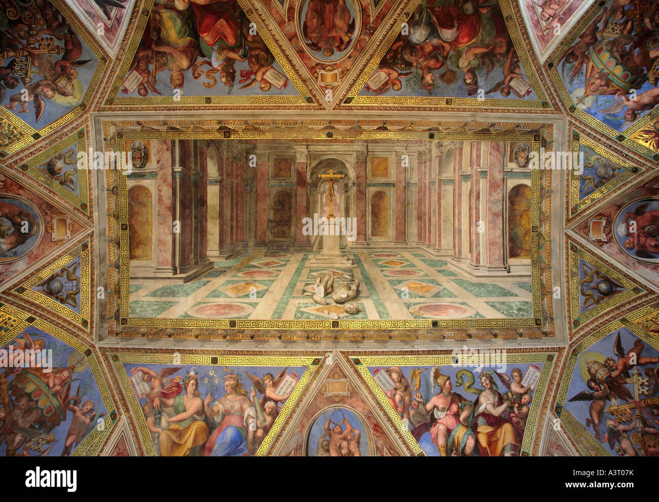 Ceiling of the Room of Constantine Vatican Museum Rome Italy - Stock Image