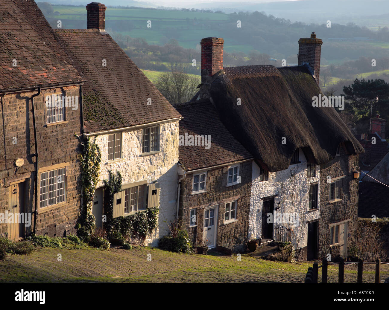 Cottages on Gold Hill Shaftesbury Village Dorset England - Stock Image
