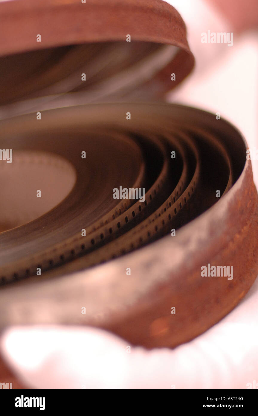 Restoring and conserving old film stock in the archive at the National Library of Wales,  Aberystwyth UK - Stock Image